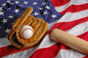 Baseball, bat and glove symbolizing the American Pastime