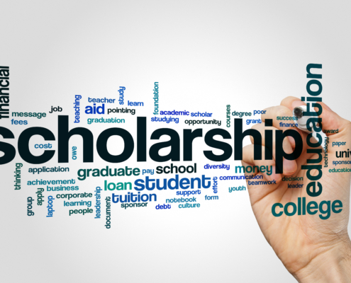 Scholarship word cloud concept on grey background