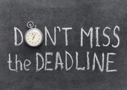 don't miss the deadline concept handwritten on chalkboard with vintage precise stopwatch used instead of O