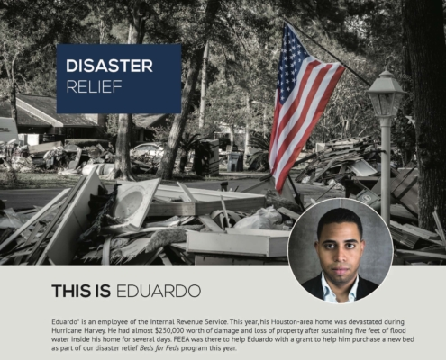 a page from FEEA's annual report featuring Eduardo's story with a photo of
