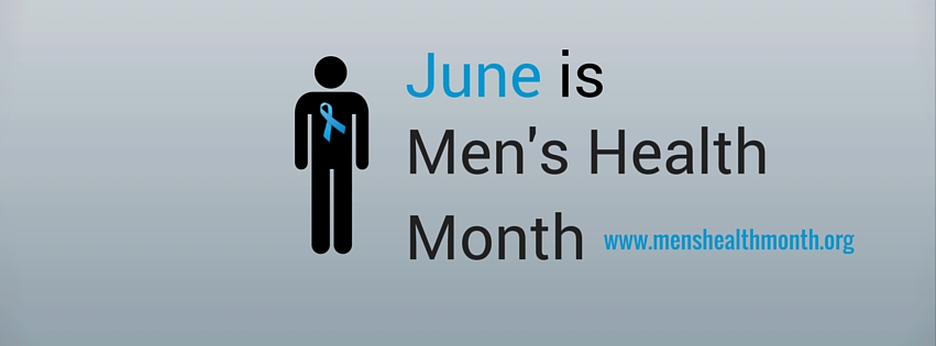 male icon with blue ribbon and menshealthmonth.org