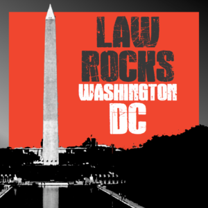 red white and black law rocks dc logo
