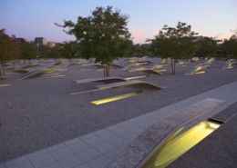 evening view of the pentagon memorial benches with light underneath