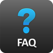 gray rounded square with blue question mark and white FAQ