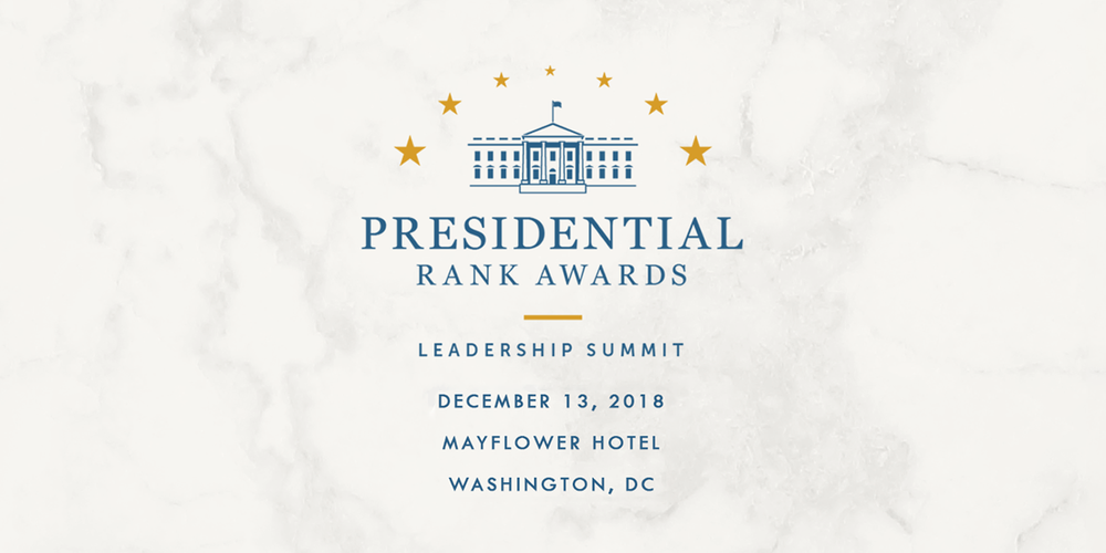 Presidential rank awards logo with event date and location below