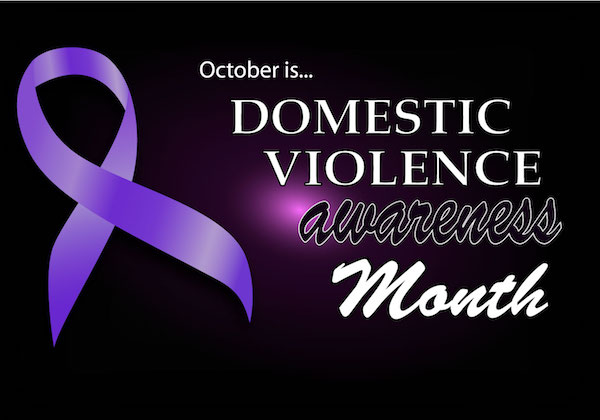 dark background with purple domestic violence awareness ribbon and message
