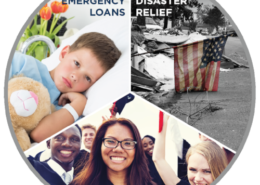 a circle with photographic images representing disaster relief, scholarships, and emergency loans