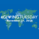 blue and green flat map of the world with #giving tuesday overlay