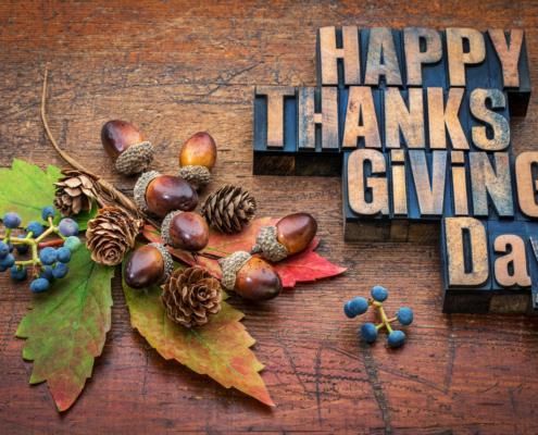 Happy Thanksgiving Day - text in vintage letterpress wood type with fall decoration (acorns, cones, leaf and vine berries) against rustic wood