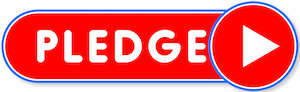 an oblong red button outlined in blue with white lettering pledge