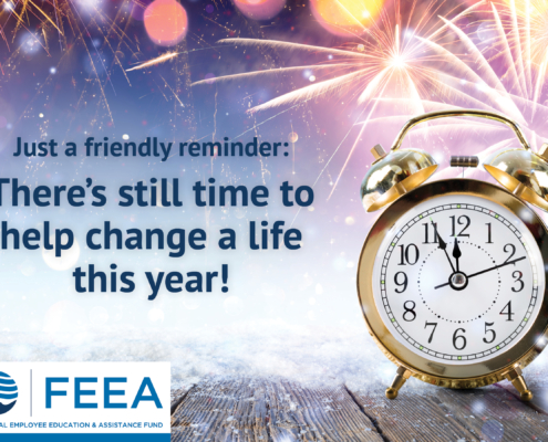 an old style clock on wooden boards with fireworks going off behind and feea reminder there is still time to change a life this year