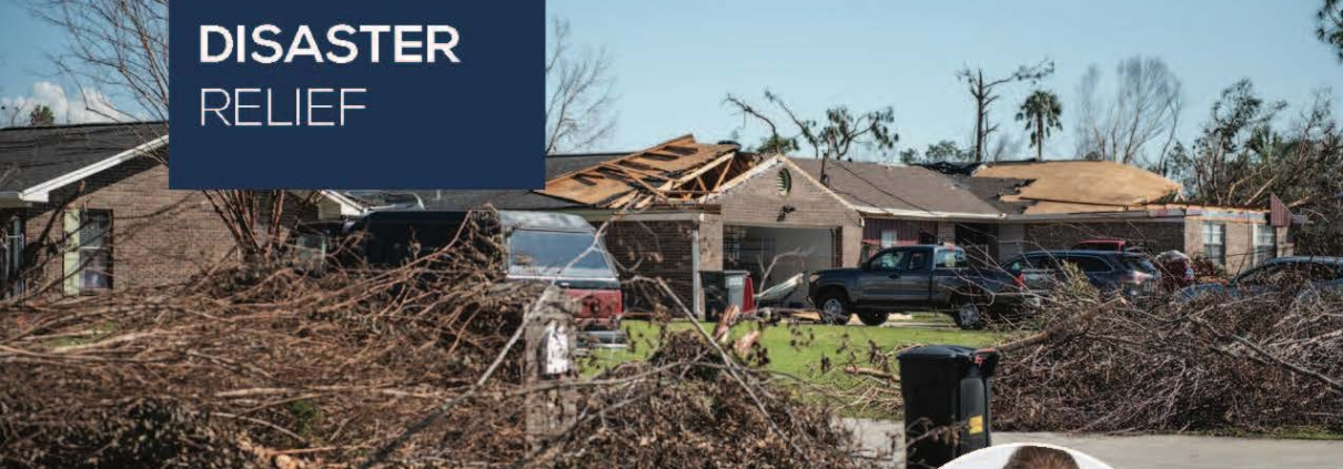 a photo showing tornado damage to a home