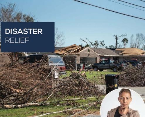 a photo showing tornado damage to a home