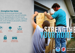 a father and daughter put plywood over a window; information about strengthening your home is shown