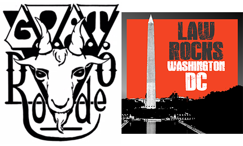 G.O.A.T. Rodeo logo with the band name surrounding an illustration of a goat head, next to the law rocks dc logo of the washington monument