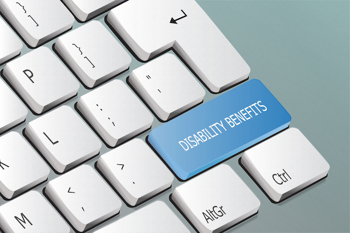 disability benefits written on the keyboard button