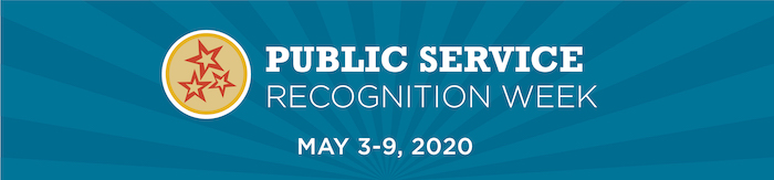 the public service recognition week logo in yellow, red, and blue with the 2020 dates of May 3-9, 2020