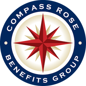 a red compass rose surround by a blue circle with the words compass rose benefits group