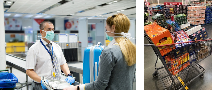 A TSA agent working at an airport and a shopping cart full of food in a warehouse store