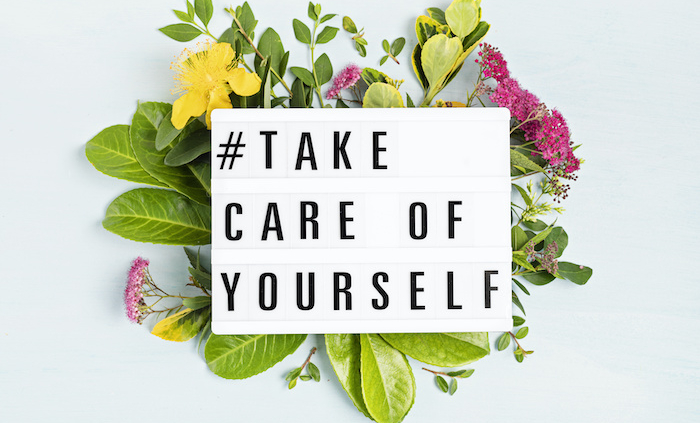 Lightbox with motivation words for self care, positive thinking, mental health, emotional wellness
