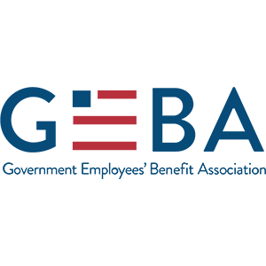 the logo for government employees' benefits association (GEBA) linked to their website