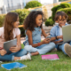 tween or teen kids are on their devices together, unsupervised
