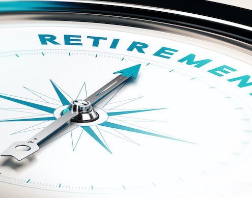 """a compass points toward the word """"Retirement"""""""
