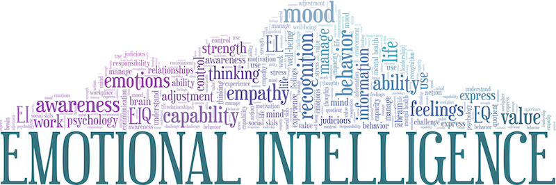 a word cloud showing various terms related to emotional intelligence